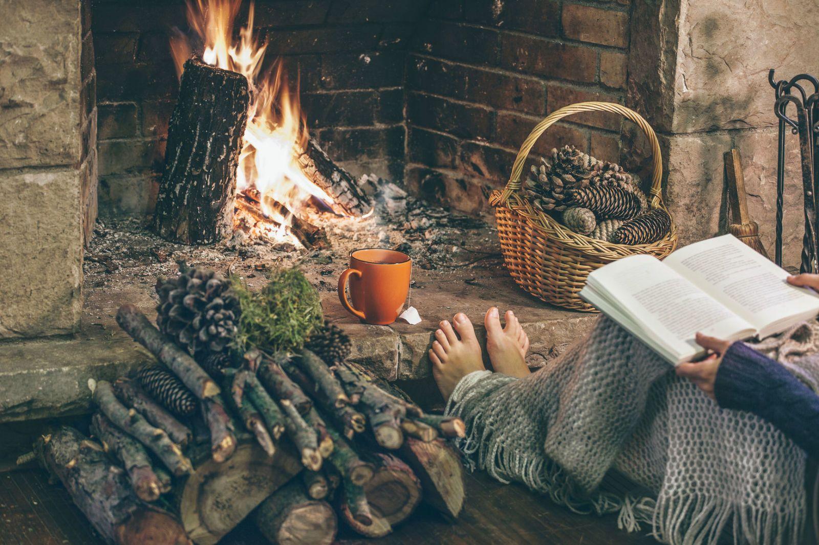 Чтение у камина картинка